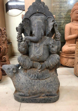 Hand Carved Granite Ganesha on his Mouse Avatar, Orissa <b>SOLD<b>